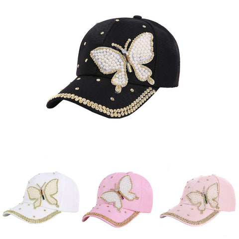 Baseball Cap with Beautiful Butterfly Applique