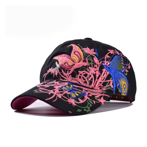 Baseball Cap Butterfly Embroidery Fashion Design Cotton