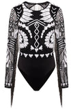 STARLET Embellished Long Sleeve Body with Fringe Detail and Cut Out Back