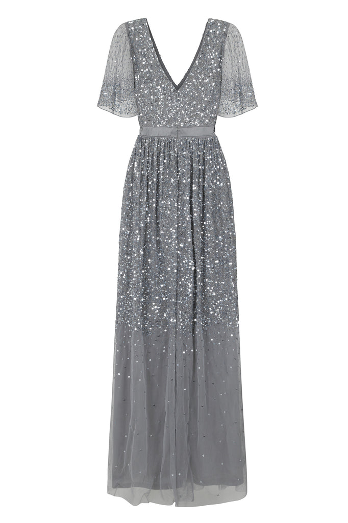 Frock and Frill Amelia Rose Blue Grey Iyla Ombre Sequin Embellished Maxi Dress with Short Sleeves