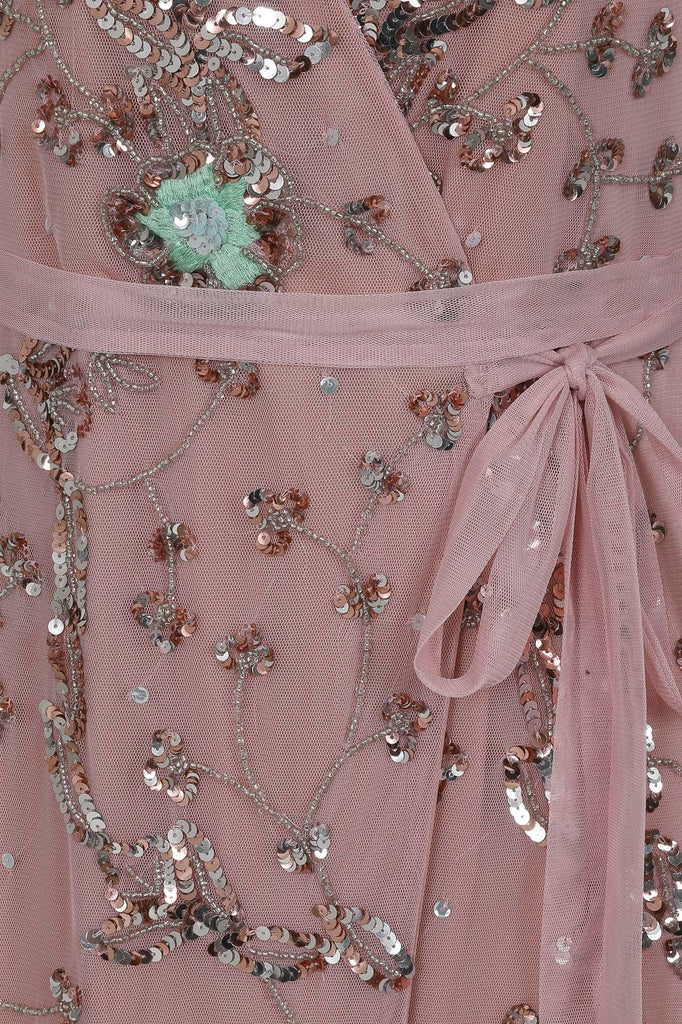 Blush pink midi dress with embellishment