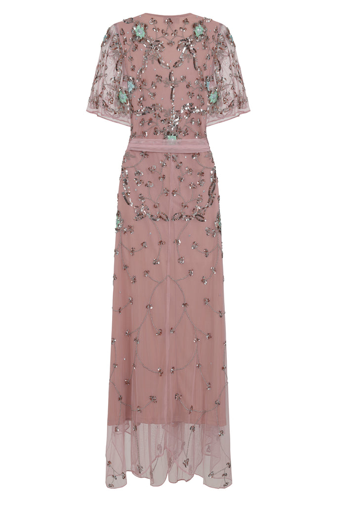 Acantha Embellished Short Sleeve Wrap Midi Dress - Blush - Amelia Rose - Frock and Frill