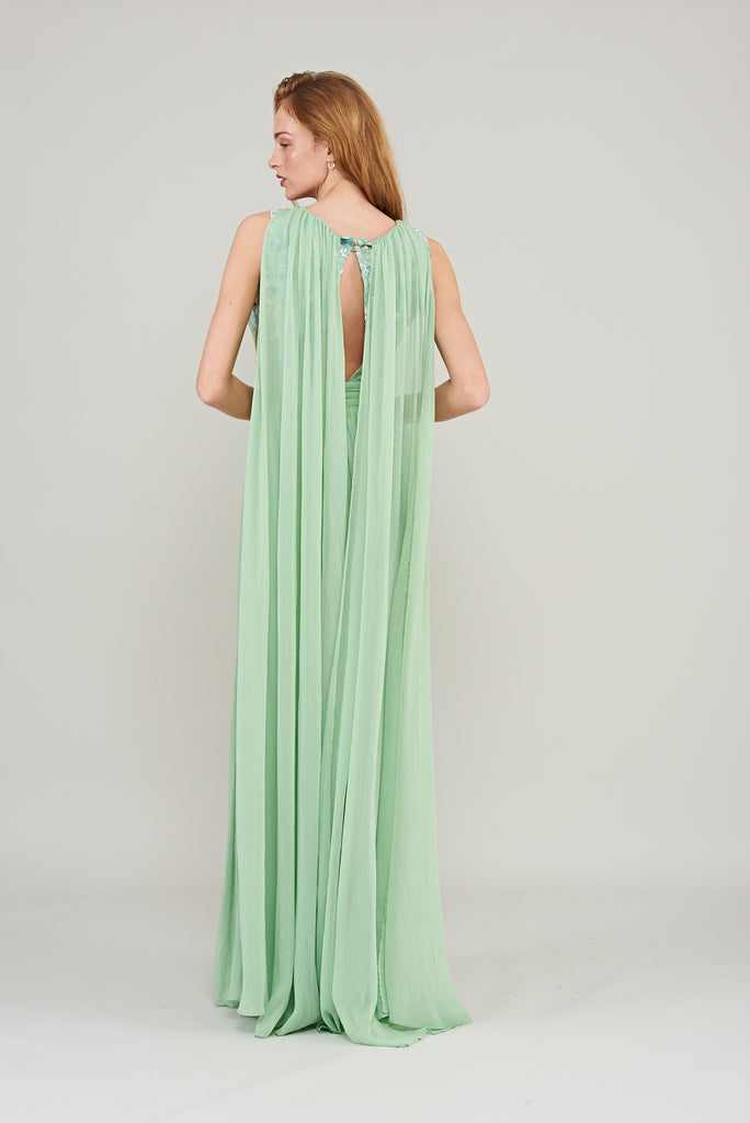 Anthea Floral Embellished Cape Back Maxi Dress - Mint Green - Amelia Rose - Frock and Frill