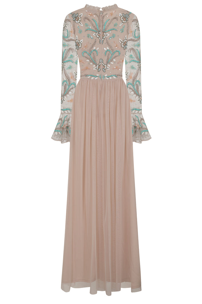 Aphrodite Embellished High Necked Flute Sleeve Maxi Dress - Light Pink - Amelia Rose - Frock and Frill