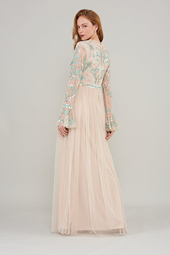 Flute sleeve floor length gown in pink with embroidered bodice