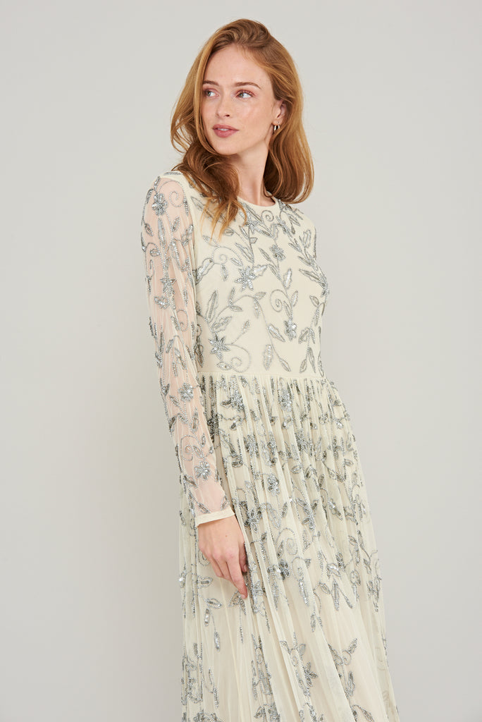 Aurora Embellished Long Sleeve Maxi Dress - Cream - Amelia Rose - Frock and Frill