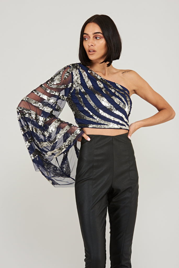 Sequin zebra print crop top with dramatic flared sleeve