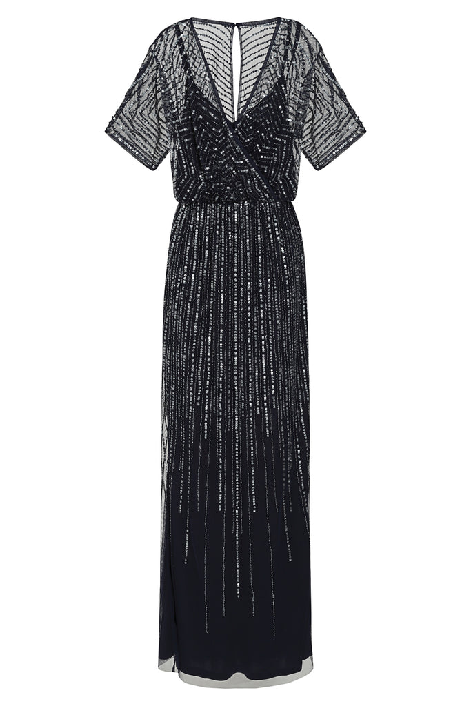Brigid embellished wrap front dress - Navy - Amelia Rose - Frock and Frill