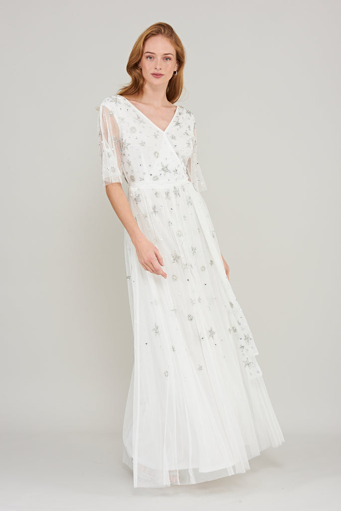 Maxi dress with sheer sleeves and a sash belt