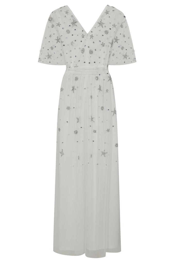 Diana Star Embellished Maxi Dress - White - Amelia Rose - Frock and Frill