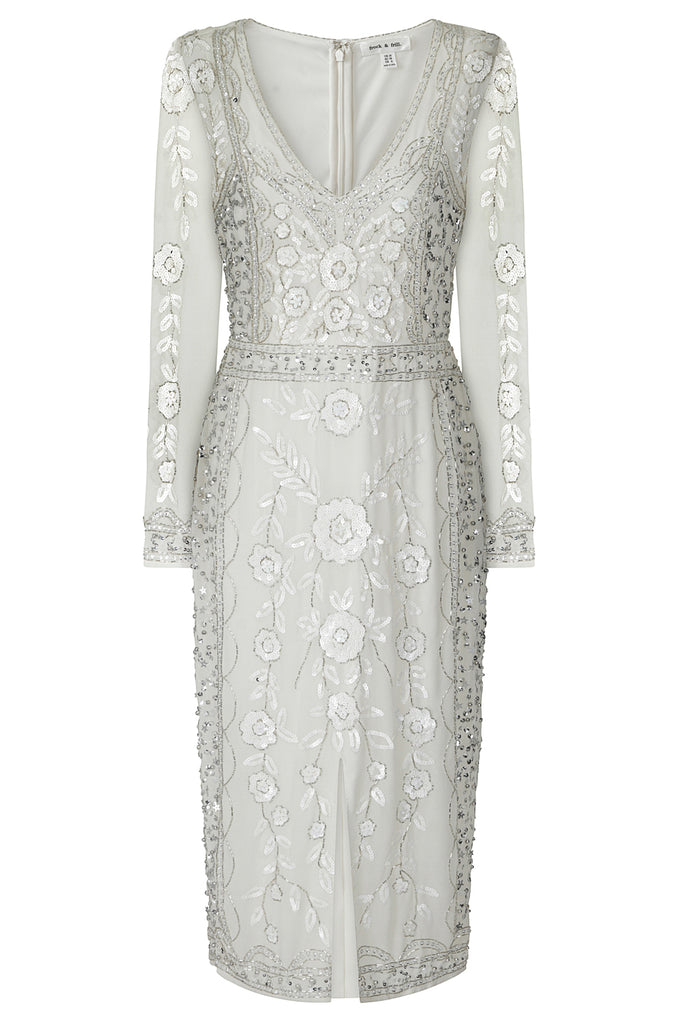 Frock and Frill Harper White Sequin and Beads Embellished V-Neck Long Sleeve Midi Dress