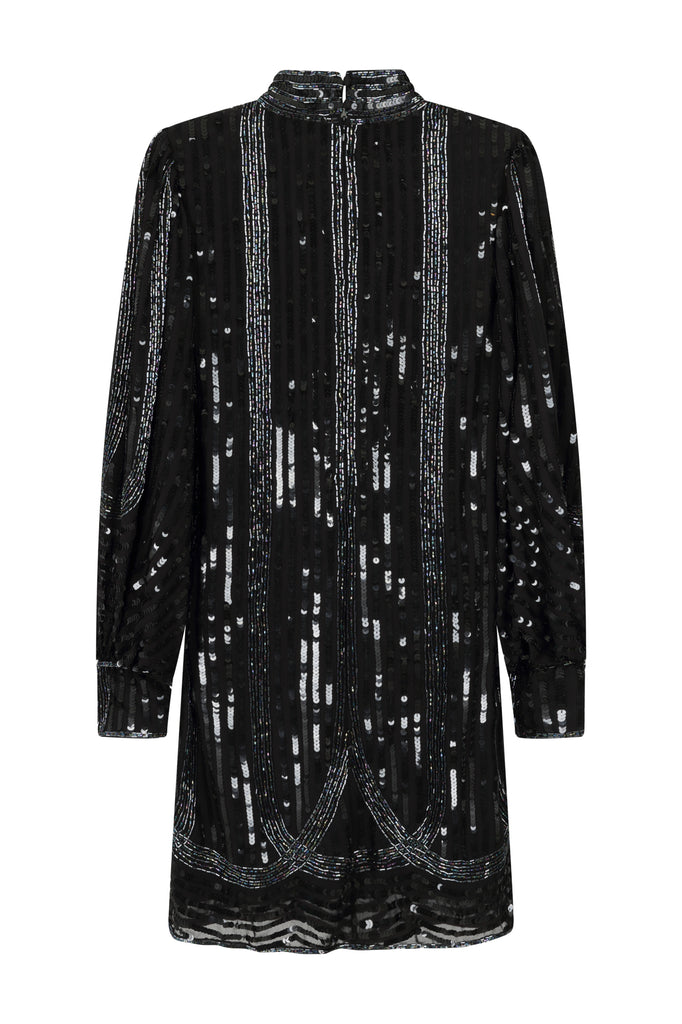 Frock and Frill Harmony Black Sequin and Bead Embellished Long Batwing Sleeve High Neck Mini Dress
