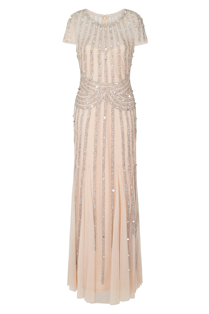 Frock and Frill Helma Blush Nude and Silver Stripe Embellished Short Sleeve Maxi Dress