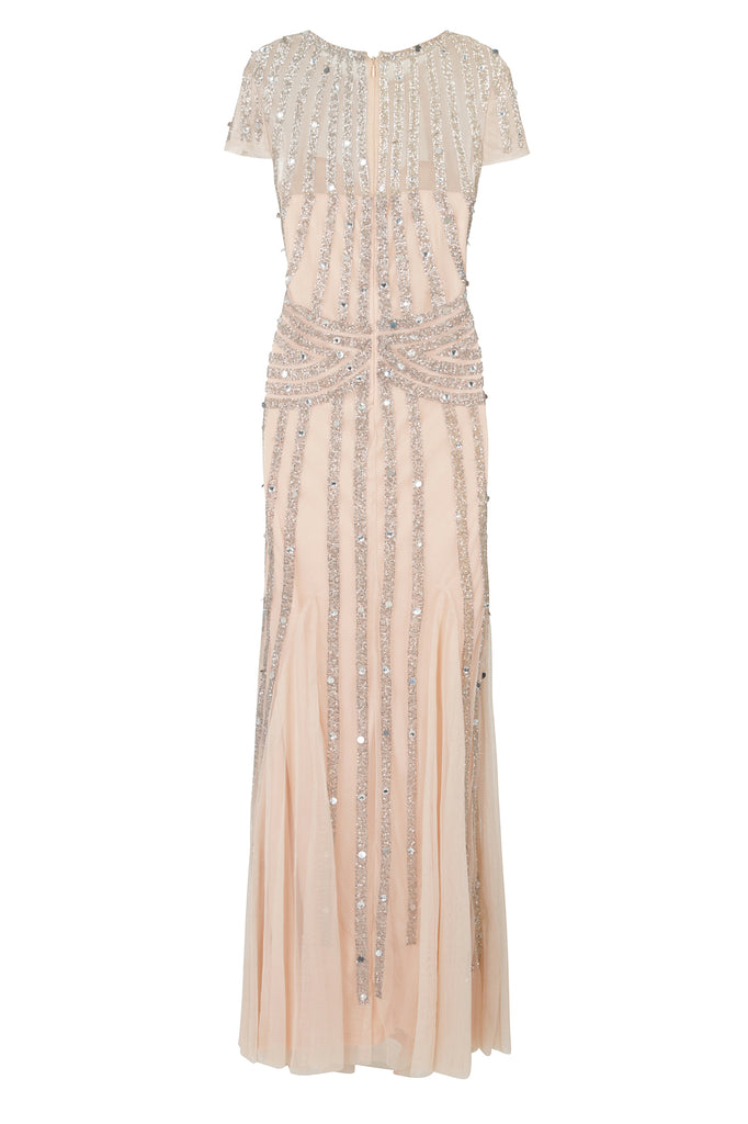l Helma Blush Nude and Silver Stripe Embellished Short Sleeve Maxi Dress