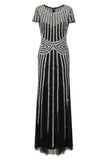 Helma Black and Silver Stripe Embellished Maxi Dress