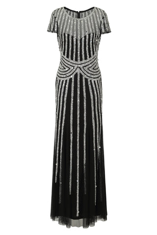 Frock and Frill Helma Black and Silver Stripe Embellished Short Sleeve Maxi Dress