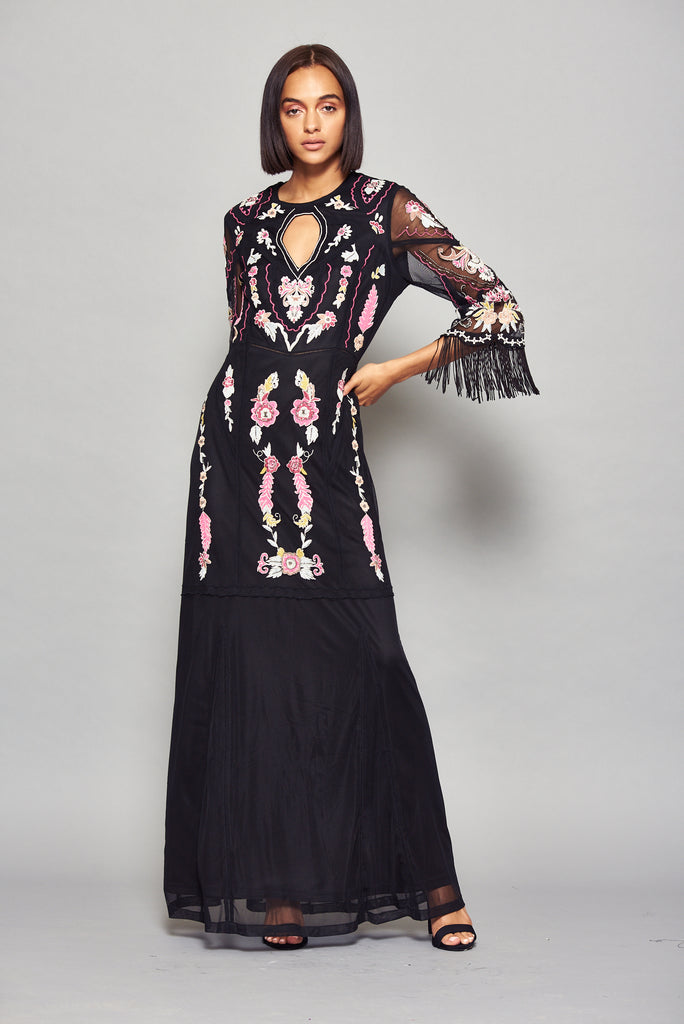 Frock and Frill Gianna Black Floral Embroidered Flare Fringed Sleeve Maxi Dress with Keyhole Cutout