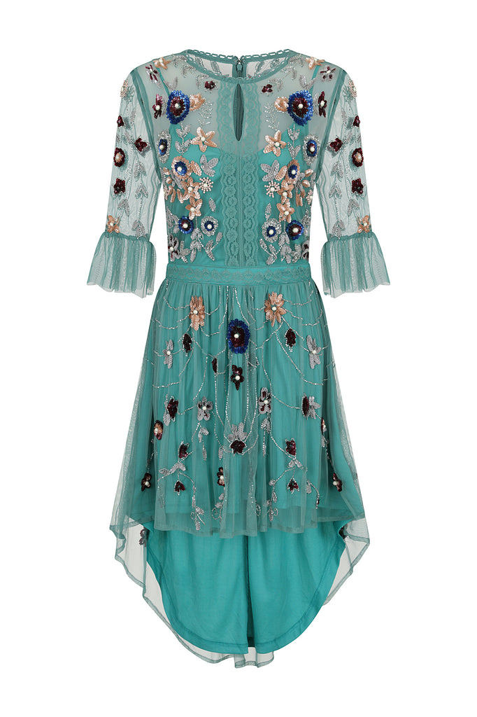 Hollie Embellished Short Sleeve Dipped Hem Dress