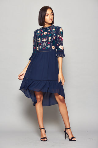 Frock and Frill Imelia Navy Blue Floral Embroidered Bodice Dress with Flare 3/4 Length Sleeves and a Dipped Hem