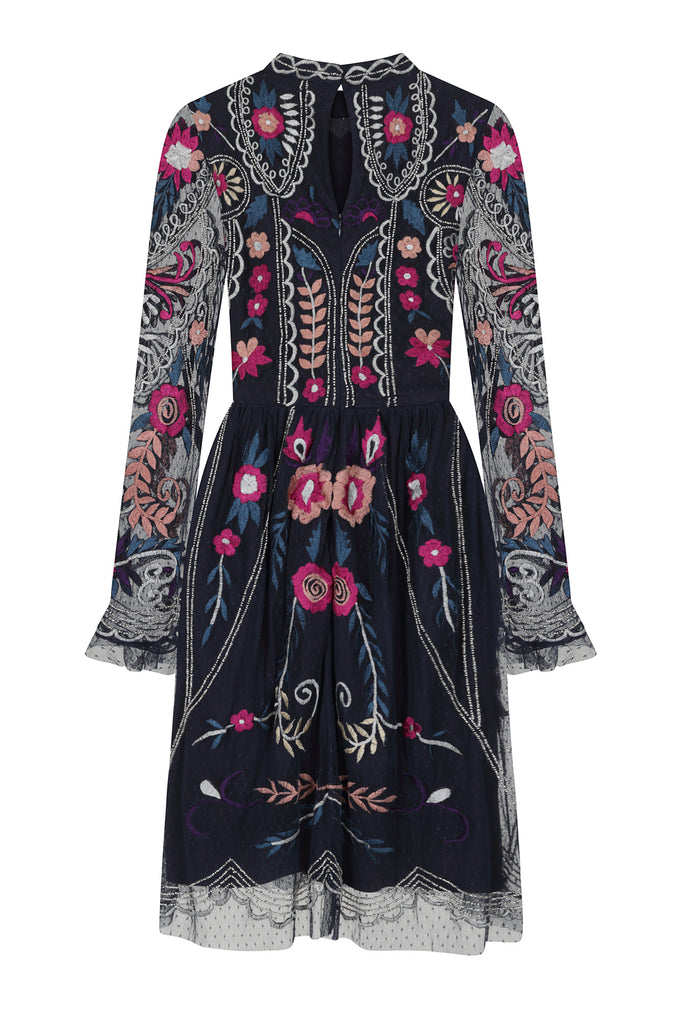 Frock and Frill Johanna Navy Embroidered Long Sleeve Dress