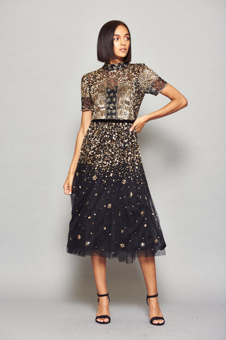 Frock and Frill Idra Black and Gold Sequin Embellished Short Sleeve Midi Dress