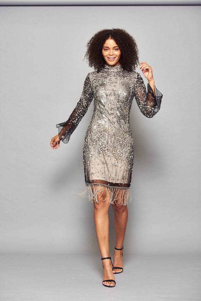 Frock and Frill Idele Black and Silver Embellished Dress with Flared Sleeve and Fringing