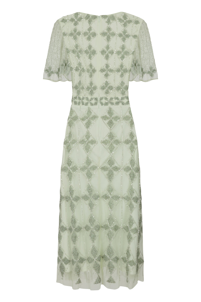 Frock and Frill Judith Pistachio Green Diamond Embellished Short Sleeve Midi Midaxi Dress