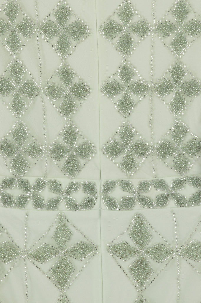Embellished midaxi dress in pistachio green and white beading
