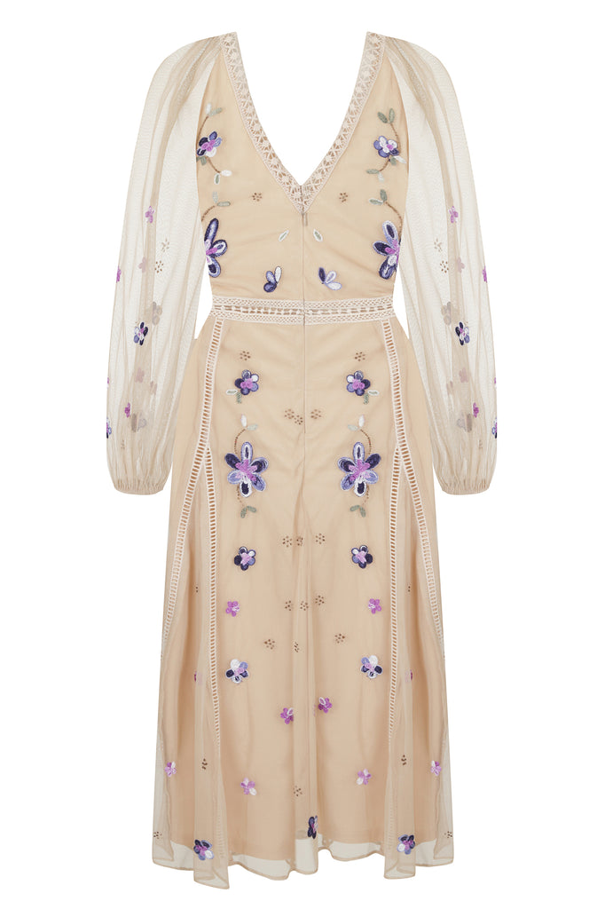 Frock and Frill Inarah Blush Nude Embroidered Long Sleeve Midi Dress