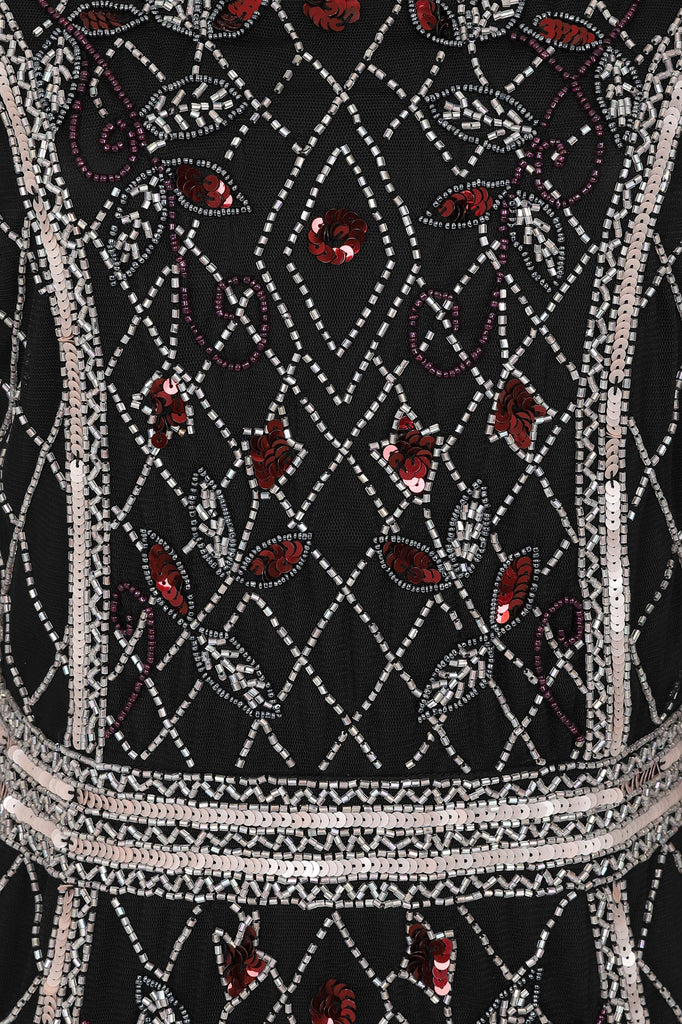 Frock and Frill Helyn Black Silver and Red Long Sleeve Embellished Dress