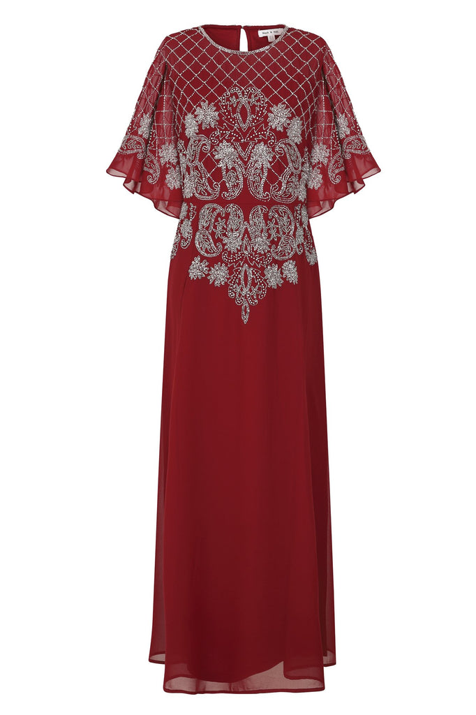 Frock and Frill Hava Red Embellished Cape Sleeve Maxi Dress