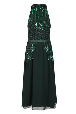 Frock and Frill Haven Emerald Green High Neck Sleeveless Embellished Skater Dress