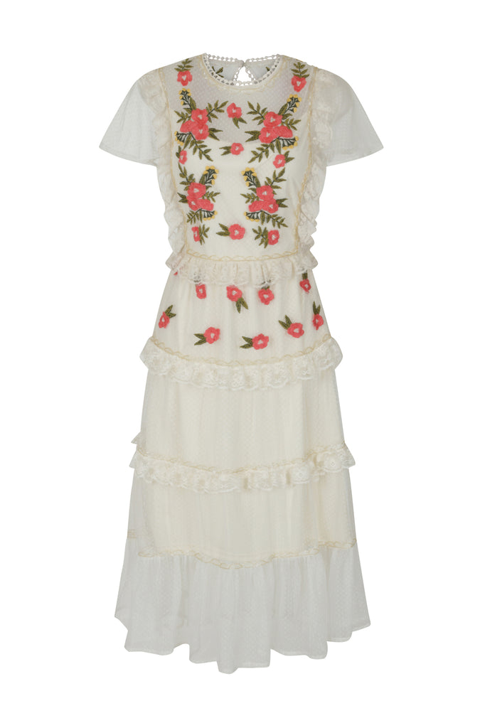 Frock and Frill Ilyssa Off White Floral Embroidered Lace Midi Dress