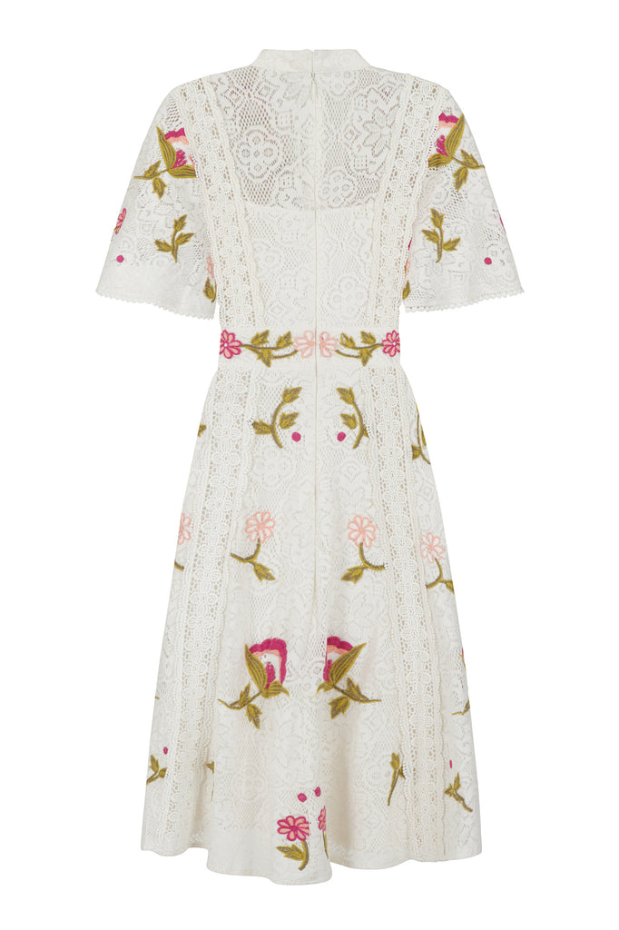 Frock and Frill Isabella Off White Lace Floral Embroidered Skater Dress