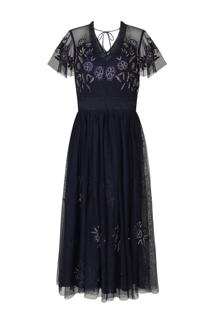 Frock and Frill Iva Navy Dark Floral Embroidered V Neck Midi Dress