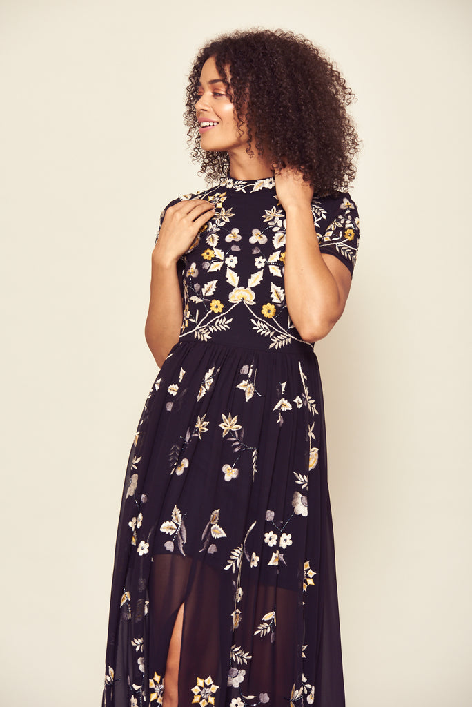 Frock and Frill Josie Black Short Sleeve High Neck Yellow and White Floral Embroidered Maxi Dress