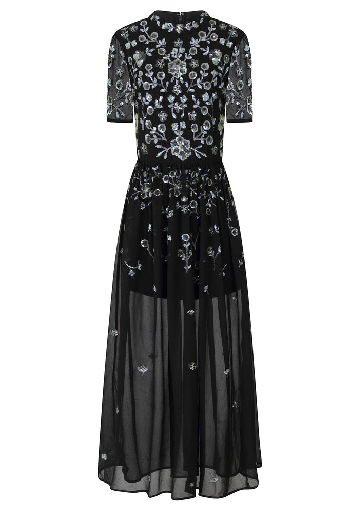 Frock and Frill Ilenia Black Floral Sequin Embellished Short Sleeve Maxi Dress