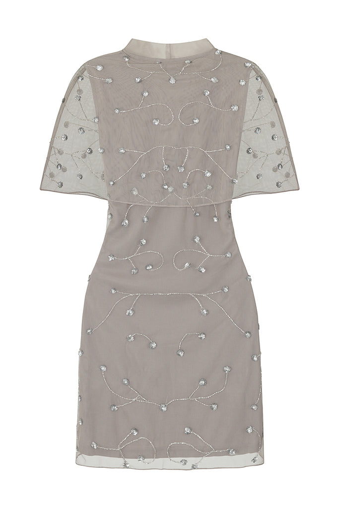 Frock and Frill Imari Grey and Silver Embellished Cape Sleeve Shift Dress