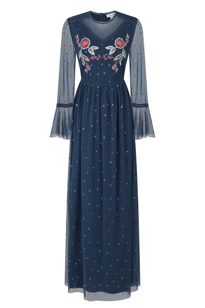 Frock and Frill Jennifer Navy Floral Embroidered Blue Dot Mesh Maxi Dress with Full Length Sleeves
