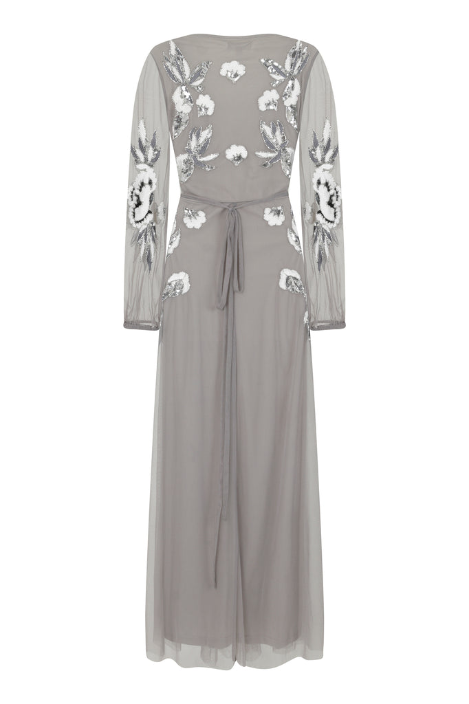 Frock and Frill Gwyneth Grey Long Sleeve V Neck Embellished Wrap Maxi Dress