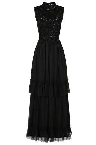 Frock and Frill Amelia Rose Faith Black Sleeveless Tiered Skirt Embellished Dress