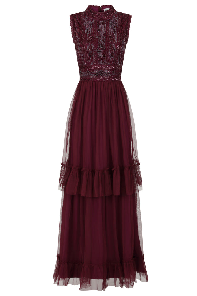 Frock and Frill Amelia Rose Faith Wine Purple Sleeveless Tiered Skirt Embellished Dress