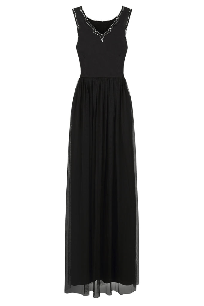 Frock and Frill Ileane Black Embellished Bodice Tulle Skirt Maxi Dress