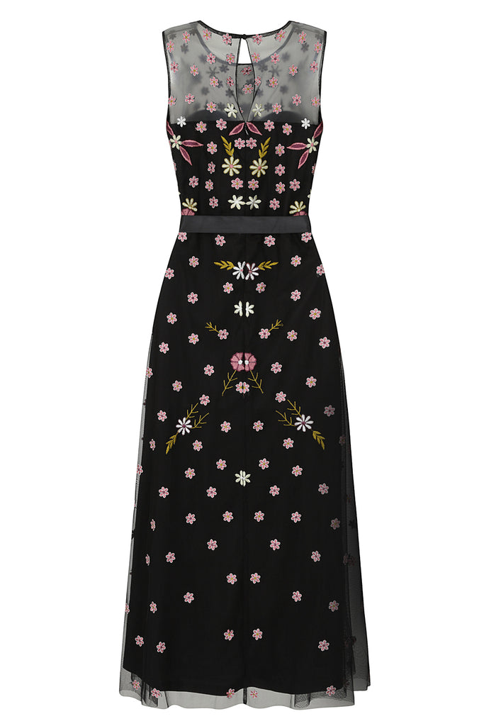 Frock and Frill Ilsa Black Floral Embroidered Midi Dress