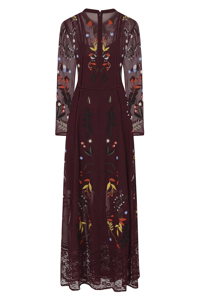 Frock and Frill Gwendolyn Dark Wine Purple Forest Animals Embroidered Lace Maxi Dress with Long Sleeves