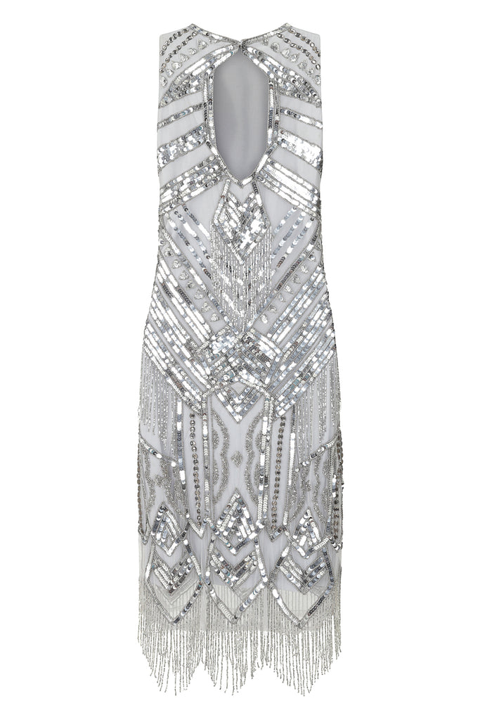 Frock and Frill Gina Silver Grey Sequin Embellished Flapper Shift Dress with Beaded Fringing