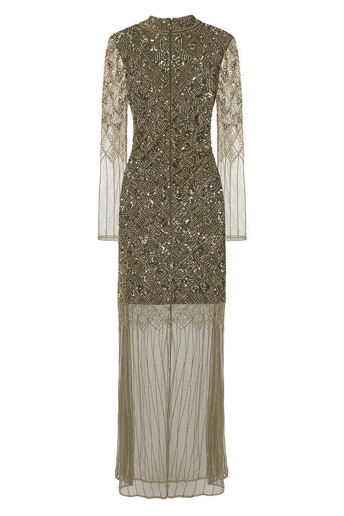 Frock and Frill Illona Gold All Over Sequin and Bead Embellished Long Sleeve Maxi Dress