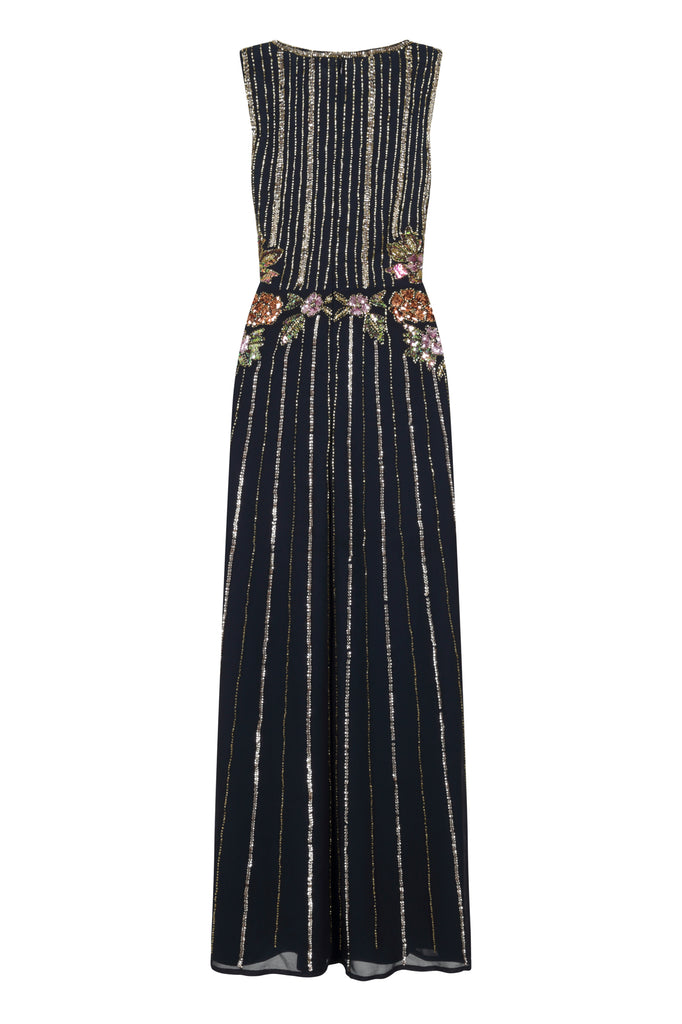Frock and Frill Hayla Navy Blue Sleeveless Sequin and Bead Embellished Maxi Dress