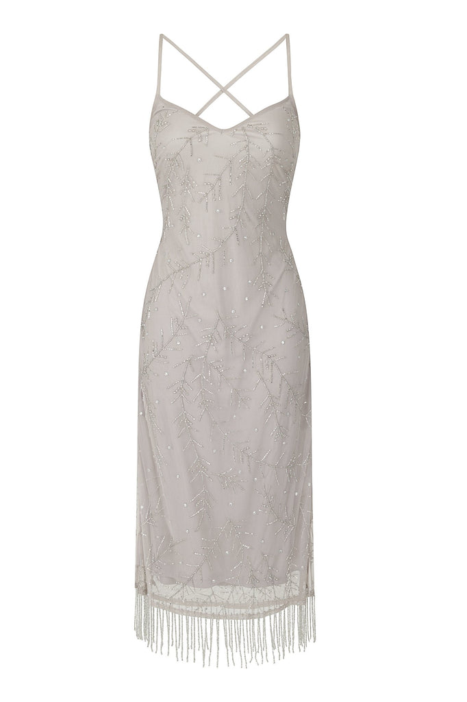 Frock and Frill Iris Silver Grey Embellished Strappy Back Cami Slip Dress