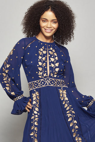 Frock and Frill Navy Blue Imelda Gold Embellished and Embroidered Long Sleeve Maxi Dress with Cut Out Back